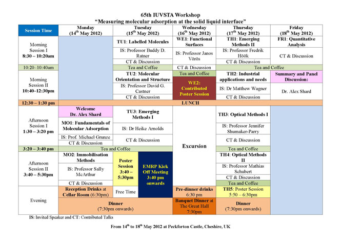 65th IUVSTA Workshop at-a-glance programme